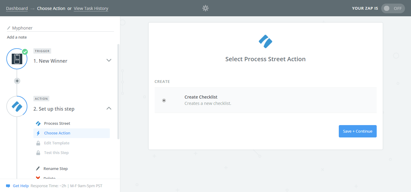 Choose Process Street as your Action app